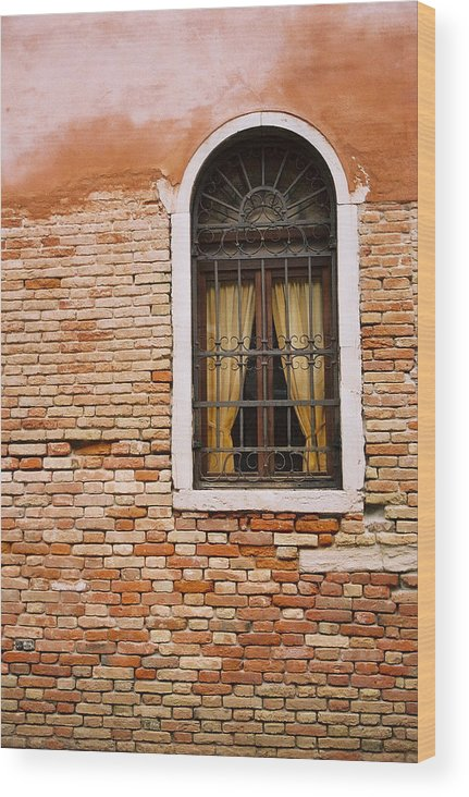 Window Wood Print featuring the photograph Brick Window by Kathy Schumann