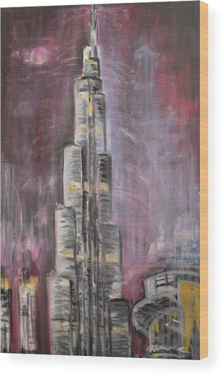 Burj Khalifa Wood Print featuring the painting Burj Khalifa by Sladjana Lazarevic
