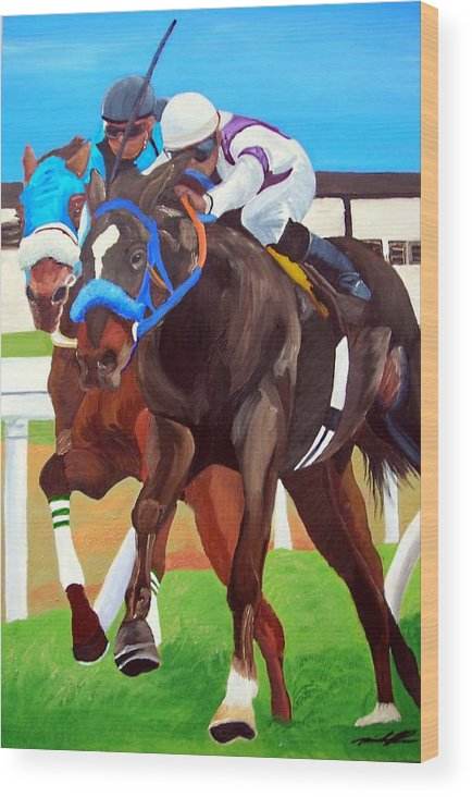 Horse Racing Wood Print featuring the painting By A Nose by Michael Lee