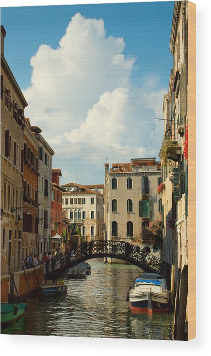 Venice Wood Print featuring the photograph Canal With Iron Bridge In Venice by Michael Henderson