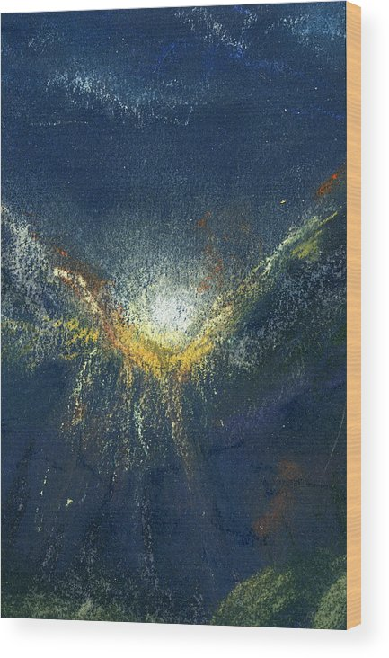 Landscape Wood Print featuring the painting Celestial by Marilyn Barton