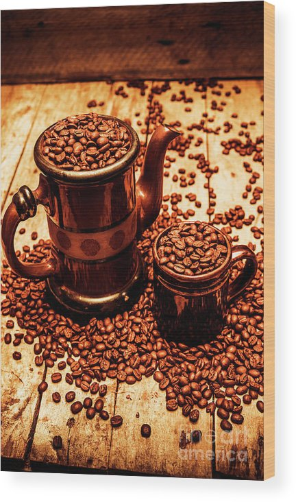 Hot Wood Print featuring the photograph Ceramic Coffee Pot And Mug Overflowing With Beans by Jorgo Photography - Wall Art Gallery
