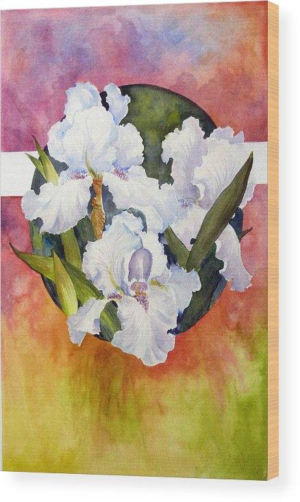 Watercolor;iris;floral;contemporary Floral;white Iris; Wood Print featuring the painting Circle Of Irises by Lois Mountz