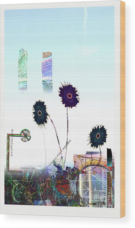 Urban Wood Print featuring the digital art City Blooms by Andy Mercer