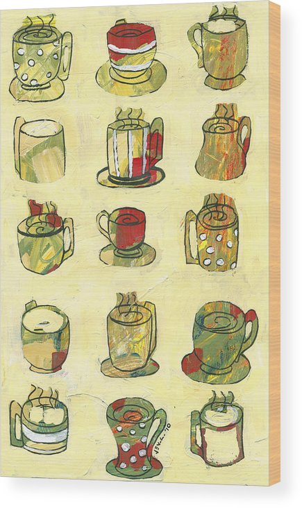 Art Deco Wood Print featuring the painting Coffee For Fifteen by Jennifer Lommers