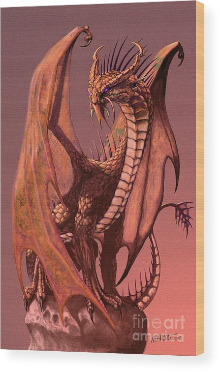 Dragon Wood Print featuring the digital art Copper Dragon by Stanley Morrison