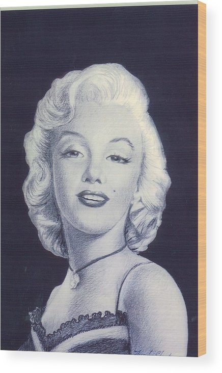 Realistic Wood Print featuring the mixed media days of glory for MARILYN by Lynda Clark