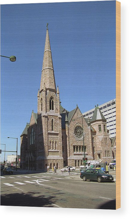 16th Wood Print featuring the photograph Denver Downtown Church by Frank Romeo