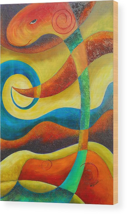 Abstract Expressionism Wood Print featuring the painting Dinosaur by Marta Giraldo