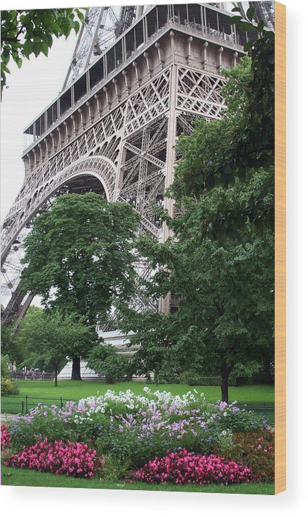 Eiffel Wood Print featuring the photograph Eiffel Tower Garden by Margie Wildblood