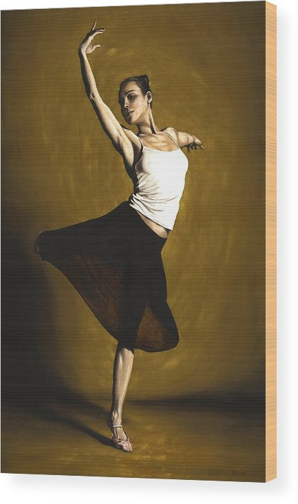 Elegant Wood Print featuring the painting Elegant Dancer by Richard Young