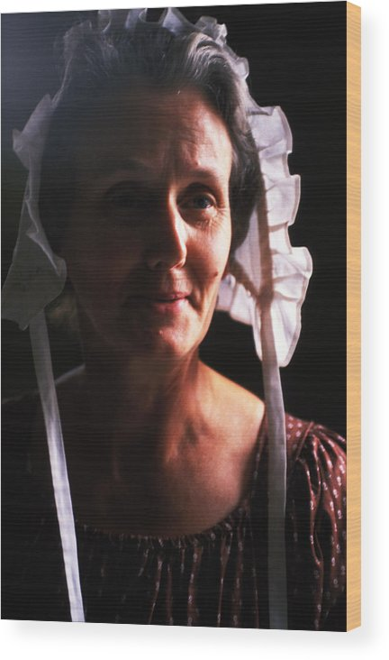 Woman Wood Print featuring the photograph Farm Woman In Bonnet by Carl Purcell