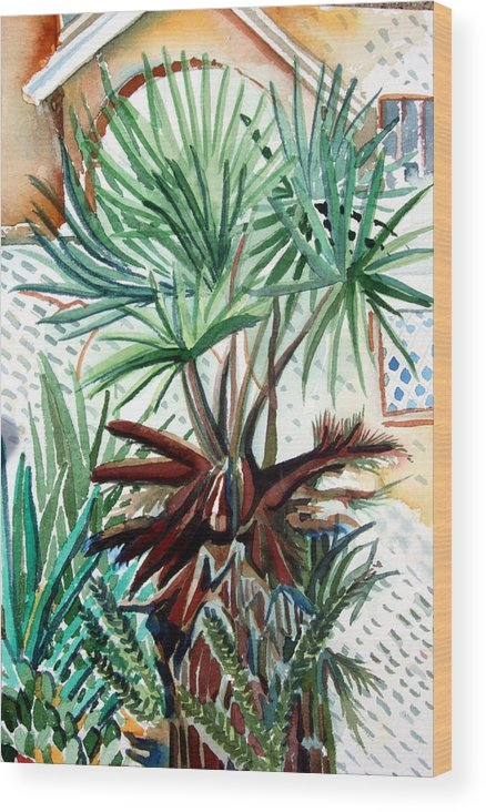 Palm Wood Print featuring the painting Florida Palm by Mindy Newman