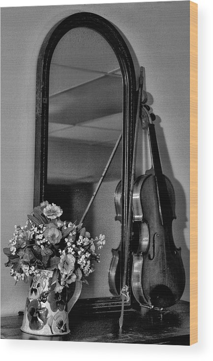 Flowers Wood Print featuring the photograph Flowers And Violin In Black And White by Bill Cannon