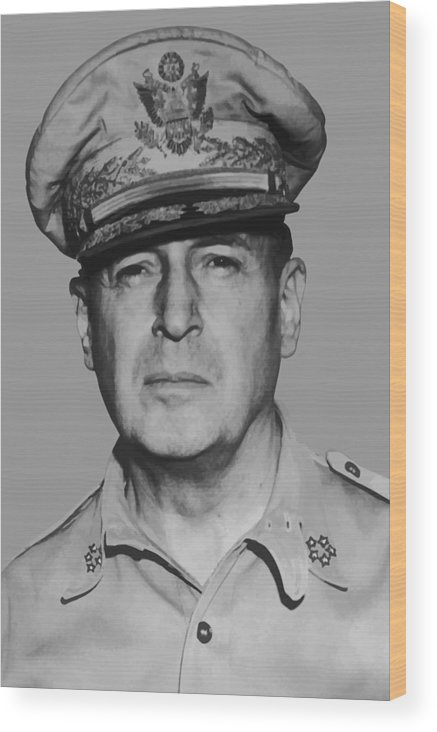 Douglas Macarthur Wood Print featuring the painting General Douglas Macarthur by War Is Hell Store