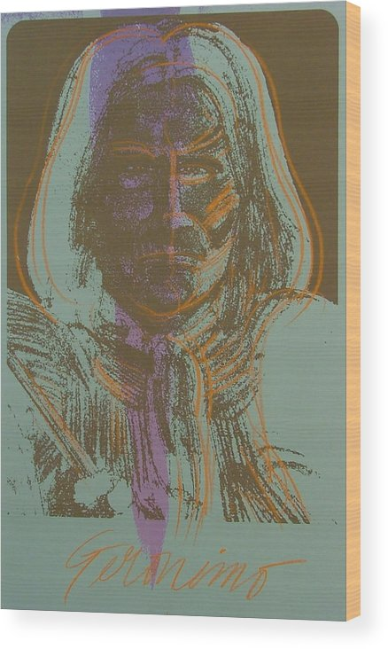 Indian Wood Print featuring the painting Geronimo by Gary Kaemmer