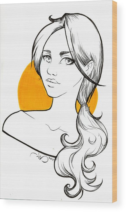 Yellow Wood Print featuring the drawing Girl And Yellow by Daniela Valentini