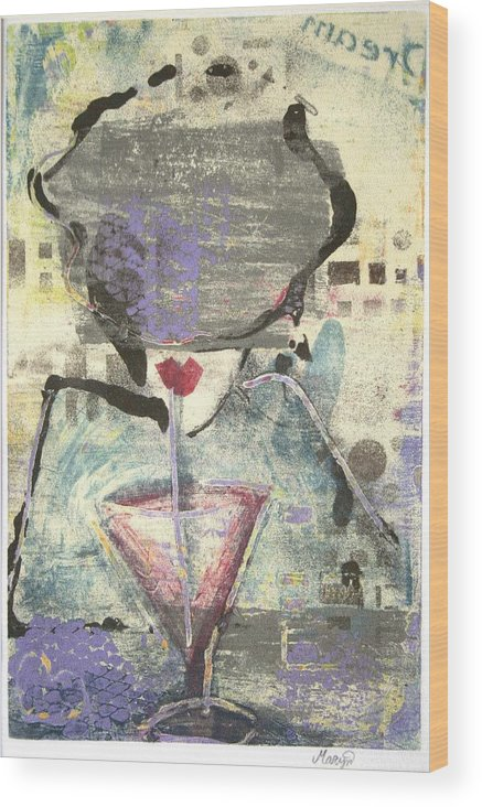 Cafe Wood Print featuring the painting Girl With Drink by Maryn Crawford