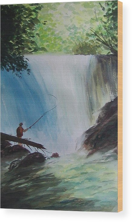 Fishing Landscape Wood Print featuring the painting Gone Fishing by Sharon Steinhaus