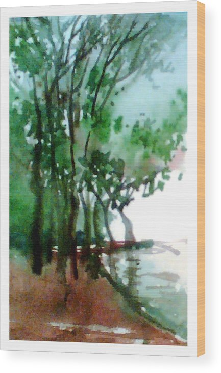 Water Color Wood Print featuring the painting Greens by Anil Nene