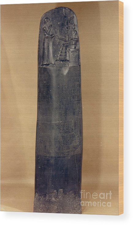 18th Century B.c. Wood Print featuring the photograph Hammurabis Code by Granger