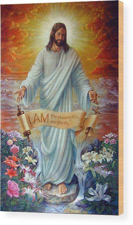 Jesus Christ Wood Print featuring the painting I Am The Resurrection by John Lautermilch