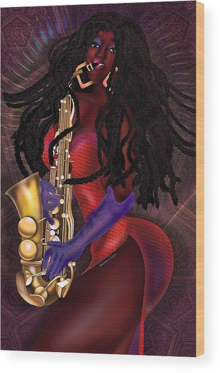 Beauty Wood Print featuring the digital art Jazzy Mama by Robina Kaira