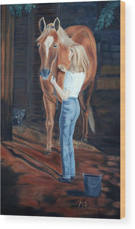 Horse Wood Print featuring the painting Jessica And Bunnie by Margaret Fortunato