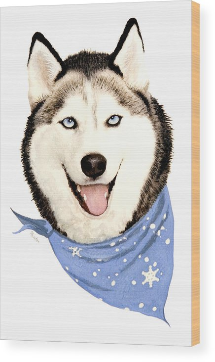 Siberian Husky Wood Print featuring the painting Lets Go by Brent Ander