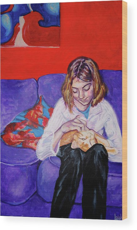 Girl Wood Print featuring the painting Life Was Simpler With A Cat by Helen Laishley