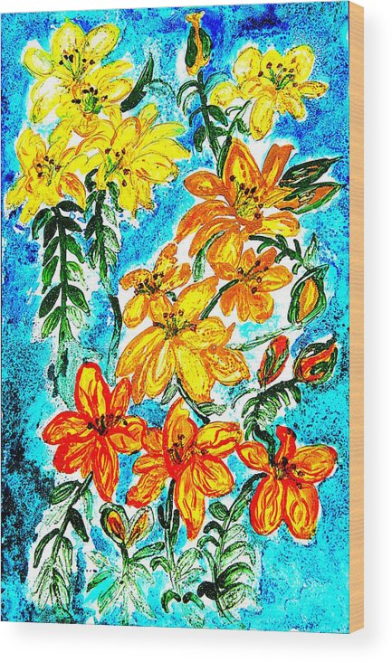 Abstract Wood Print featuring the painting Lilies Of The Lake by Margaret G Calenda