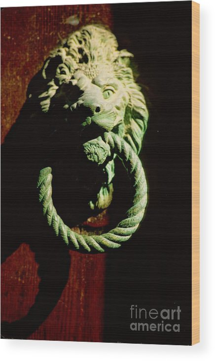 Venice Wood Print featuring the photograph Lion Door Knocker In Venice by Michael Henderson