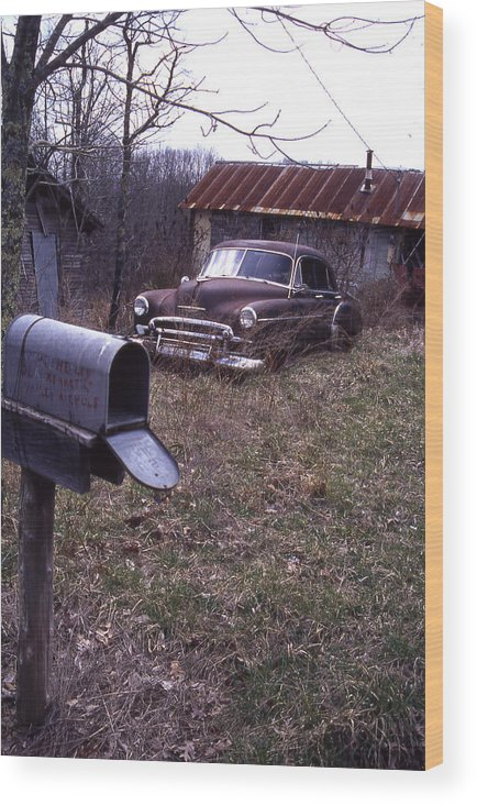 Wood Print featuring the photograph Mailbox Car by Curtis J Neeley Jr