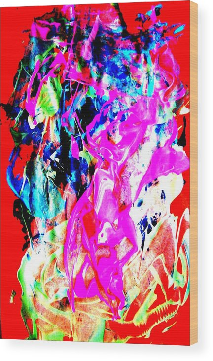 Bright Colors Wood Print featuring the painting Mardi Gras by Bruce Combs - REACH BEYOND