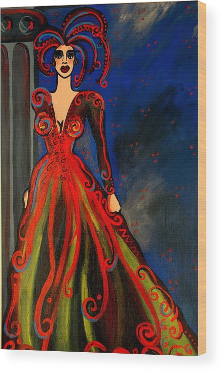 Couture Artwork Wood Print featuring the painting Mardi Gras by Helen Gerro