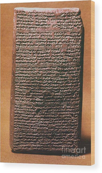 1400 B.c. Wood Print featuring the photograph Mesopotamian Cuneiform by Granger