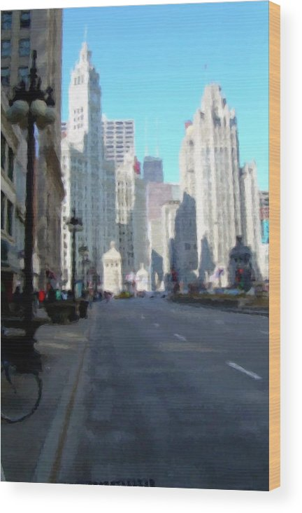 Chicago Wood Print featuring the digital art Michigan Ave Tall by Anita Burgermeister