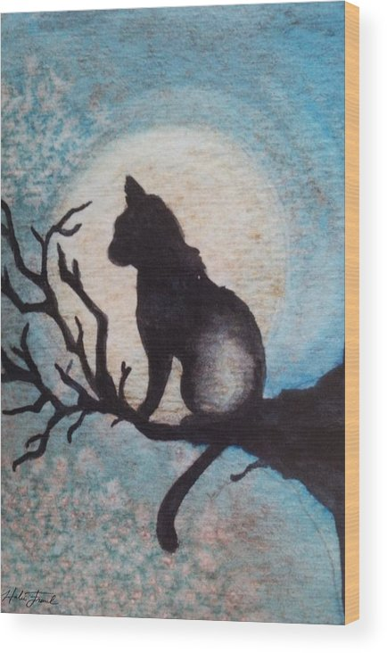 Watercolor Wood Print featuring the painting Moon Kitty by Halie French
