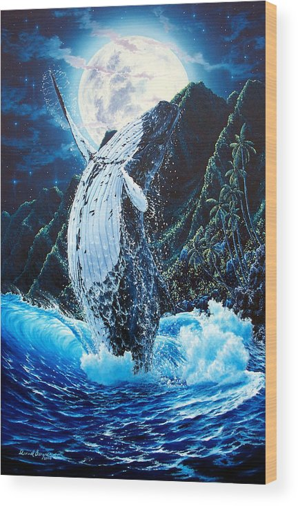 Dolphin Wood Print featuring the painting Moondance by Daniel Bergren