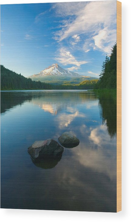Mt. Hood Wood Print featuring the photograph Mt. Hood Cirrus Explosion by Mike Dawson