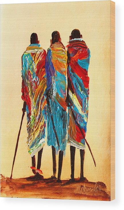 True African Art Wood Print featuring the painting N 106 by John Ndambo