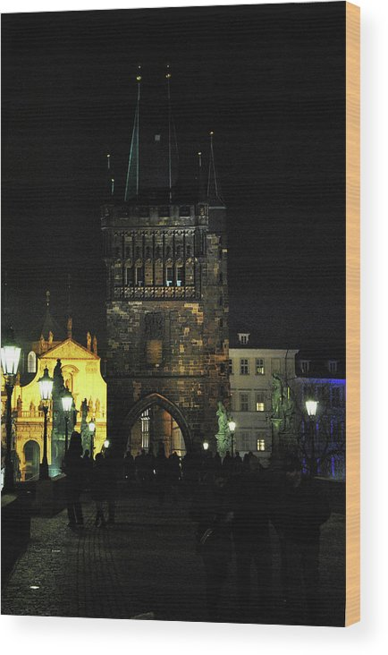 On The Charles Bridge Wood Print featuring the photograph On The Charles Bridge by Gasper Cajhen
