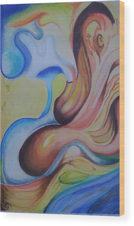 Abstract Wood Print featuring the painting On The Island by Suzanne Udell Levinger