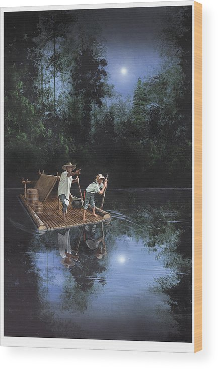 Harold Shull Wood Print featuring the painting On The River by Harold Shull