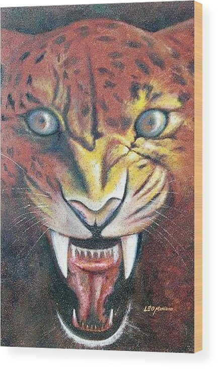 Animal Wood Print featuring the painting Onca Pintada by Leomariano artist BRASIL