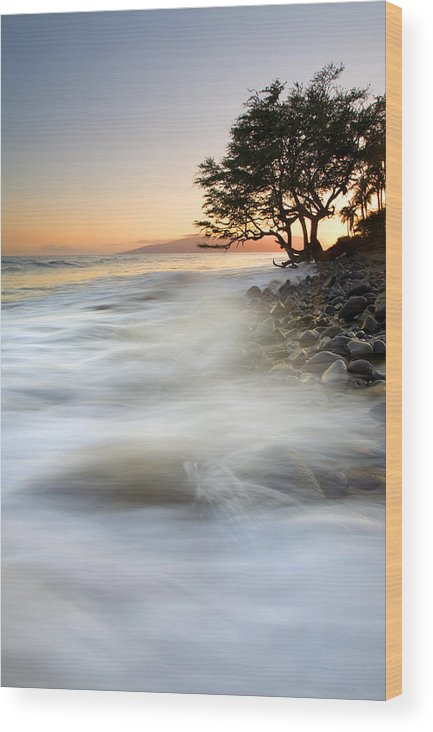 Sunset Wood Print featuring the photograph One Against The Tides by Mike Dawson