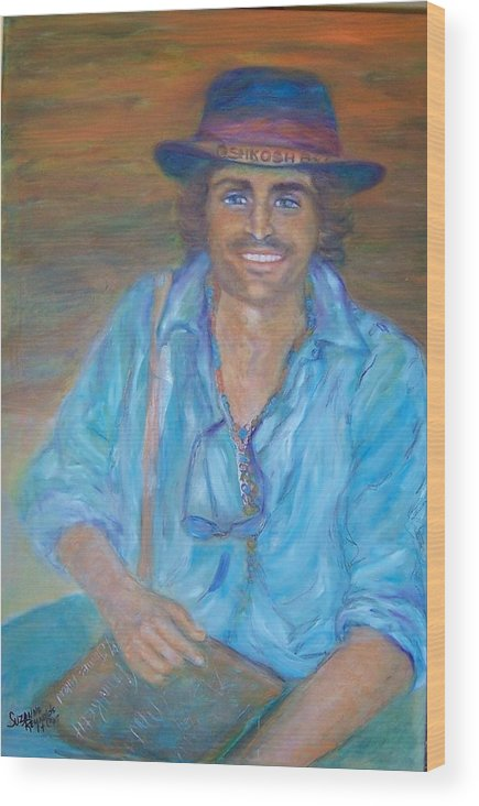 Portrait Of A Gypsy Against A Santa Fe Sky Wood Print featuring the painting Oshkosh By Gosh by Suzanne Reynolds