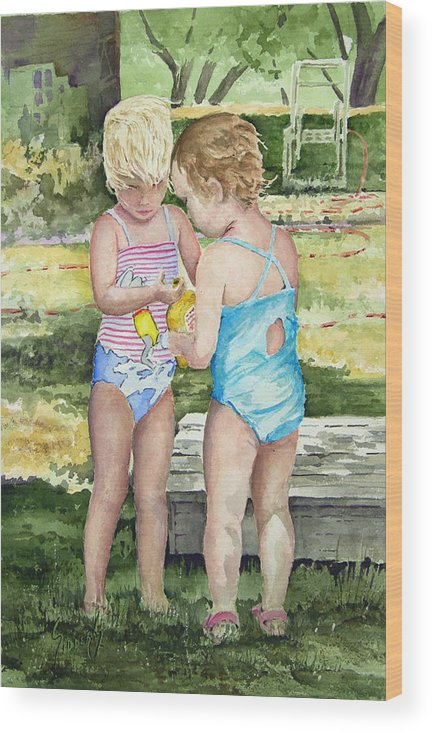 Children Wood Print featuring the painting Pals Share by Sam Sidders