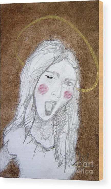 Angel Wood Print featuring the drawing Pandora Opened The Box - ...wink...wink by Chrissa Arazny- Nordquist