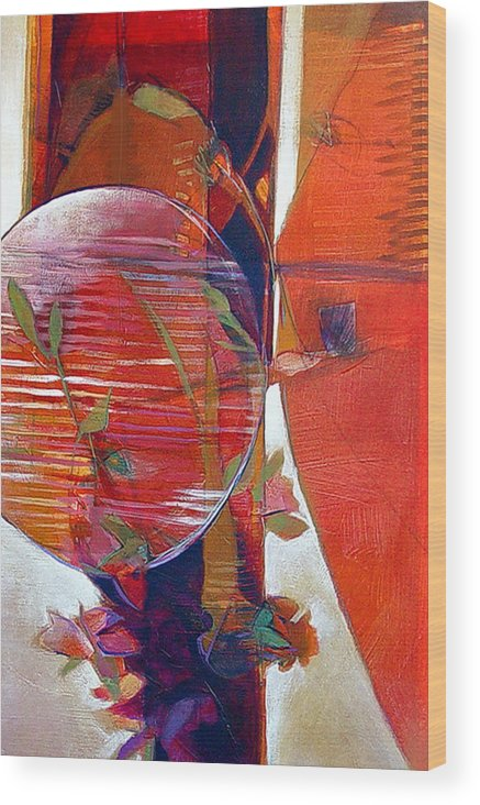 Abstract Wood Print featuring the painting Paper Lantern by Dale Witherow